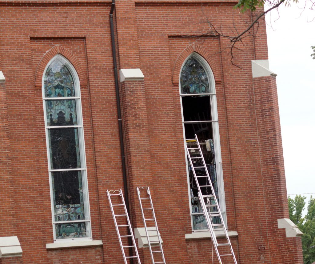 Window Damage on North Side of St. Joseph's Catholic Church after Thursday fire.