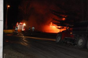 Fire destroyed a building in Medill on Saturday night