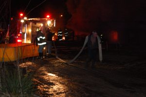 Fire crews were able to pull hose to the tanker to use its water