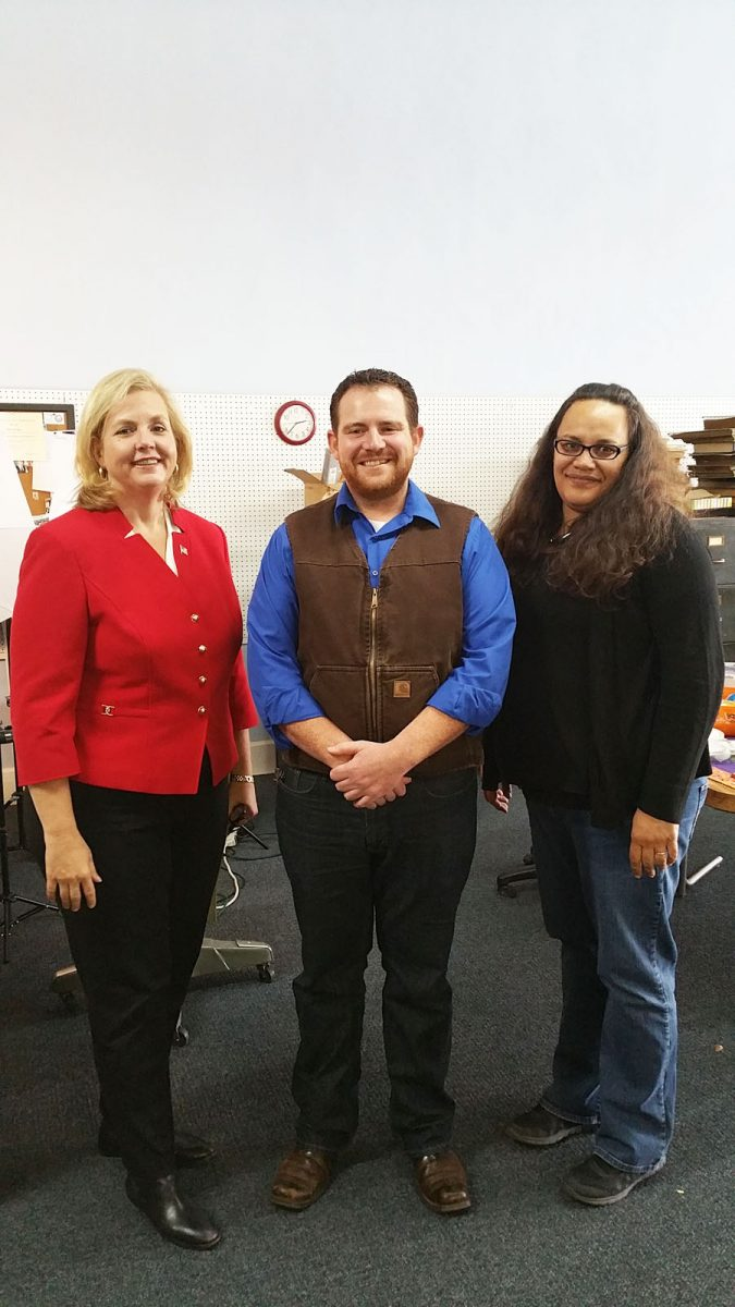 Republican Missouri Gubernatorial Candidate Catherine Hanaway (left) stopped by The Edina Sentinel office on Thursday, October 29, 2015. Hanaway spent time chatting with Reporter Echo Menges (right) and Knox County Presiding Commissioner Evan Glasgow (R) (center).