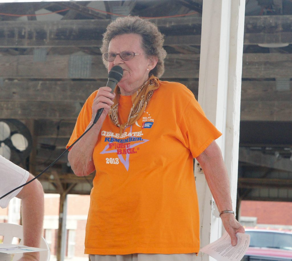 13 year veteran Knox County Relay For Life Co-Chair Betty Couch kicks off Relay.