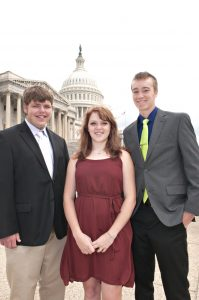 Bryce Cardwell of Edina, Elle Stewart of Kahoka, and Tyler Niemann of Canton were among 87 students who travelled to Washington D.C. as part of the 50th annual Missouri Electric Youth Tour .