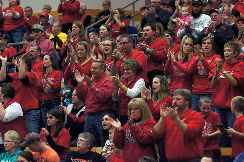COMMUNITY COMES OUT IN FORCE FOR MOBERLY QUARTERFINAL APPERANCE-Knox County alumni, parents and fans traveled to Moberly for the Lady Eagle state quarterfinal game with New Franklin. The Lady Bulldogs scored on the game's final play for a 60-58 overtime victory. Photo by David Sharp