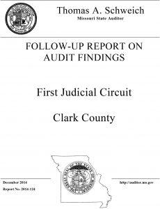 Follow-Up Report On Audit Findings First Judicial Circuit Clark