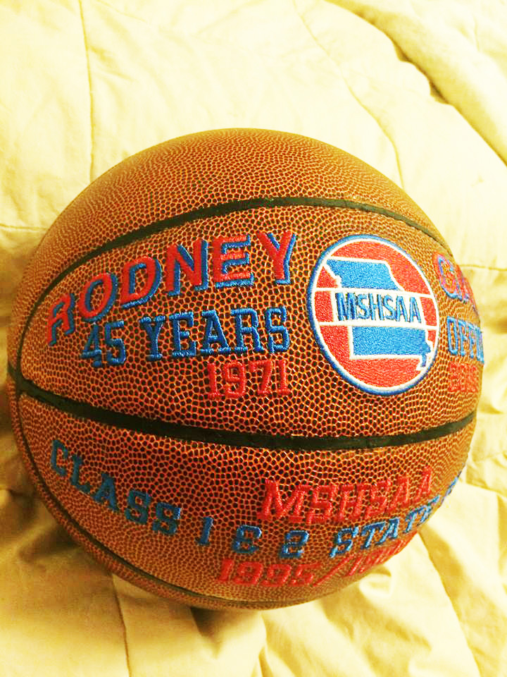 This commemorative ball honors Gares' 45 years as a basketball official.