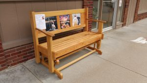 This gliding bench has been donated by Hardwood Xpress in Edina and will be auctioned off at the benefit to help Stryker and his family.