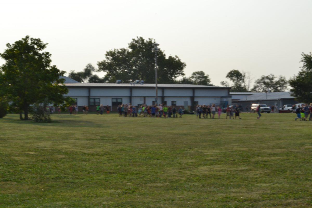 Students evacuating to Black Hawk.
