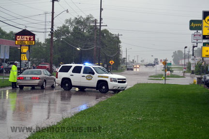 Johnson Street (Hwy 81) in Kahoka was closed due to flooding. It reopened in the afternoon.