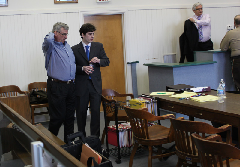 Glenn Head, left, talks with one of his attorneys, John James, during a recess Monday at the Randolph County Courthouse in Moberly, Mo. Head is facing second-degree murder charges in the Dec. 11, 2012, shooting death of William Bacon near Novelty in rural Knox County. (H-W Photo/Don O'Brien)