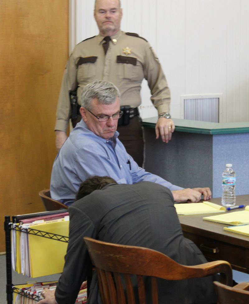 Former St. Louis police officer Glenn Head waits for action to start in his trial on Monday at the Randolph County Courthouse in Moberly, Mo. Head is facing second-degree murder charges in the Dec. 11, 2012, shooting death of William Bacon near Novelty in rural Knox County. (H-W Photo/Don O'Brien)