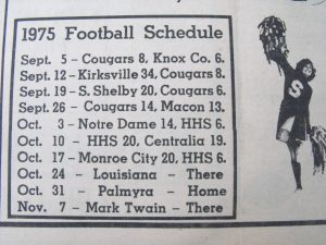 HHS 1975 Football Schedule