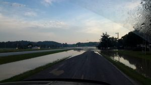 This photo was taken by Kathy Martin of water covering Highway 61/24 between LaGrange and Palmyra at approximately 6:30 a.m.