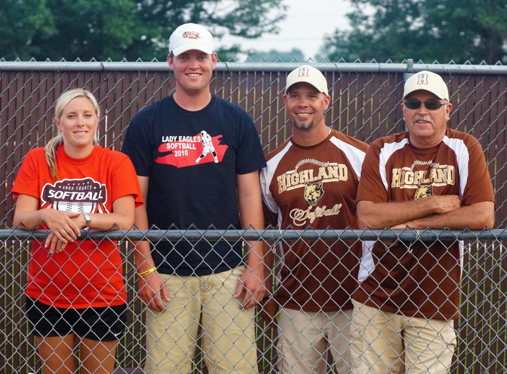 KNOX COUNTY AND HIGHLAND COACHES LEAD MISSOURI ALL STARS-Missouri softball coaches Becky Barnhill and Lance McMahon represented Knox County in the 2015 Illinois vs. Missouri Senior Softball Salute at Quincy. Highland coaches Paul Scifres and Ronnie Richardson represented the two time defending district champions. Highland and Knox County had a total of six of the 14 Missouri player roster. Shown from left to right are: Becky Barnhill, Lance McMahon, Paul Scifres and Ronnie Richardson.