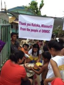"""The people of the Republic of the Philippines particularly those from the province of Ormoc, Leyte would like to extend their gratitude to the residents of Clark County, Missouri for the generous contribution they gave to the Dine to Benefit event held last November 23 at the Trump Heritage Haus. A relief operation was conducted the first week of December in Ormoc which made the residents' Christmas come in early. A special """"Thank You"""" to Mrs. Marvis Trump, Clark County Pharmacy, The Media and the Catholic churches of Clark County."""