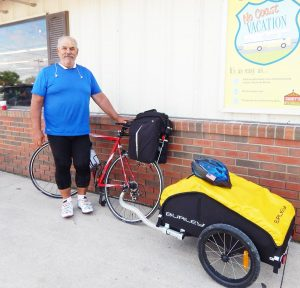 Tom L'Italien was in Kahoka on Thursday July 9 on his 3,000 mile bicycle ride across America to bring awareness to veteran's issues such as suicide. It is reported that 22 veterans die each day of suicide.