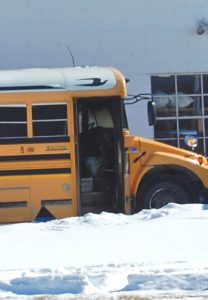 This Clark County R-1 school bus received extensive damage in an apparent electrical fire on Tuesday morning. No one was aboard the bus, which was warming up before beginning its route.
