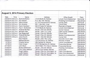 election fliling list