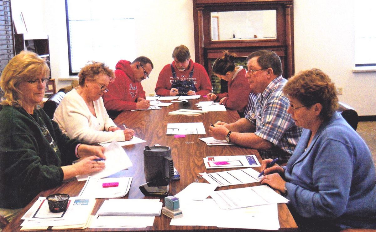 Getting an early start-Several candidates were on hand when the filing period for the August 5 primary election opened last Tuesday morning. Pictured are Michelle Allen, Kay Biggerstaff, Steve Howell, Ron Brewer, Kim Schantz, Paul Brotherton and Karen Davidson. Photo courtesy Ruth Brotherton.