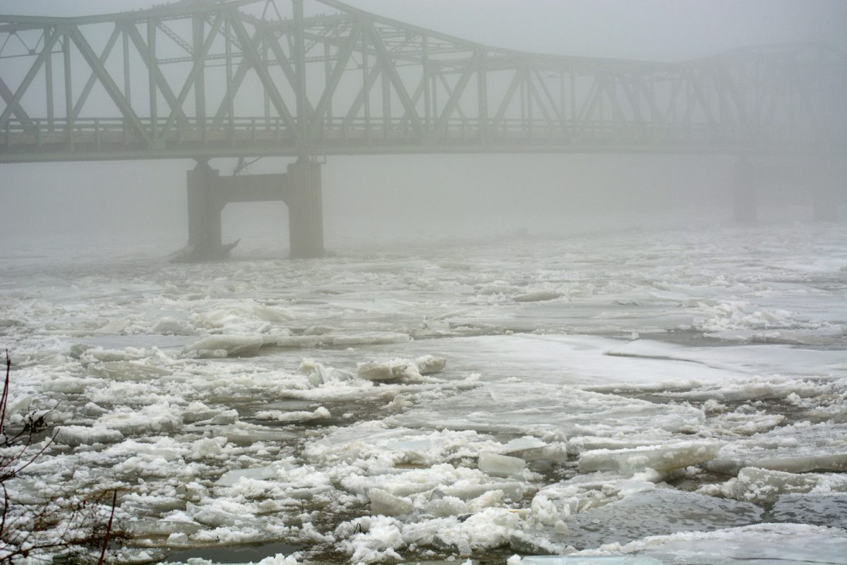 The Des Moines River at St. Francisville is experiencing minor flooding due to an ice jam. These photos show the ice on Saturday morning, December 24.