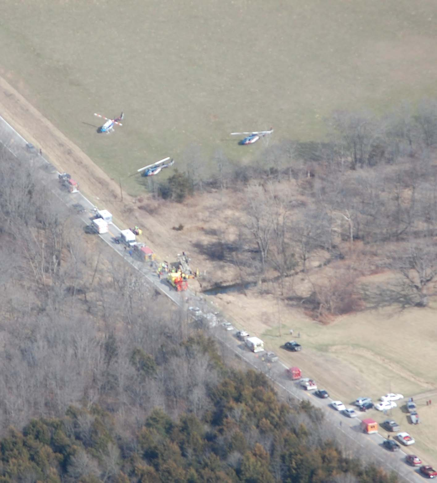 Aerial photos from the scene of a school bus rollover in Lewis County. Emergency crews from across Northeast Missouri responded.