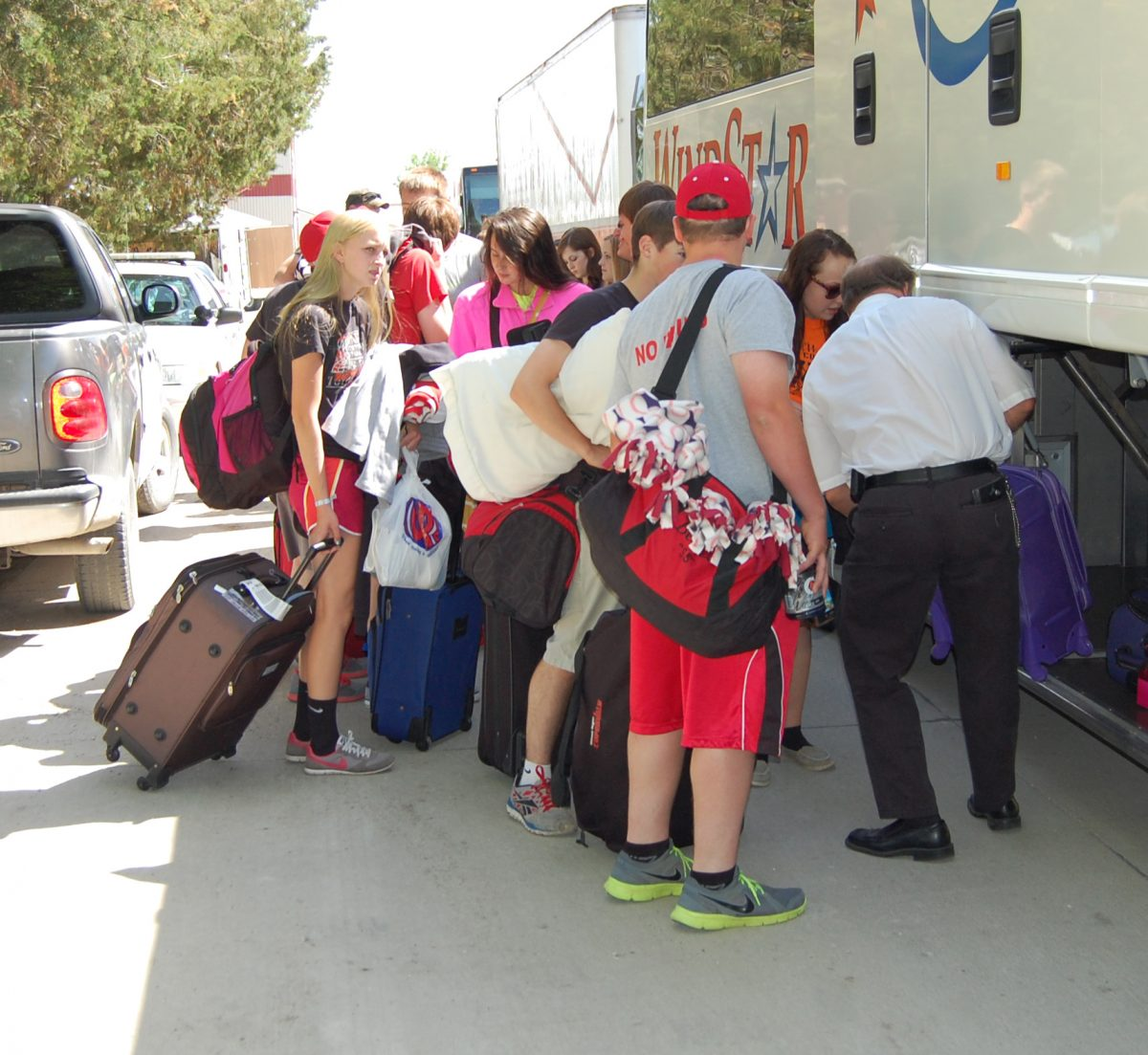 Band members loaded their suitcases on three buses and hit the road for Washington DC.