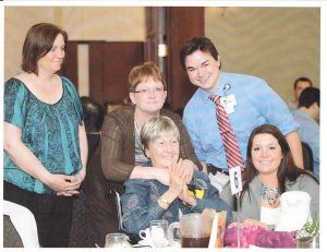 Frances McAndrew, center, is shown surrounded by family and MU medical student Noah Wald-Dickler at the Legacy Teachers Luncheon in 2012. McAndrew's nephew, Mark McAndrew of McKinney, TX, former of Kahoka, donated $2.4M dollars to create the Frances T. McAndrew Endowed Chair In Oncology.