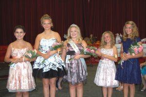 Princess CONTEST Top Five--3rd Runner Up-Mikayla Plenge, 1st Runner Up Karcyn McKee, Princess Kennedy Johnson, 2nd Runner Up Keely Murphy and 4th Runner Up Drenda Hess.