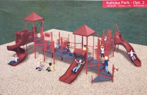 An artist's concept of the new playground equipment to be installed in the City Park.