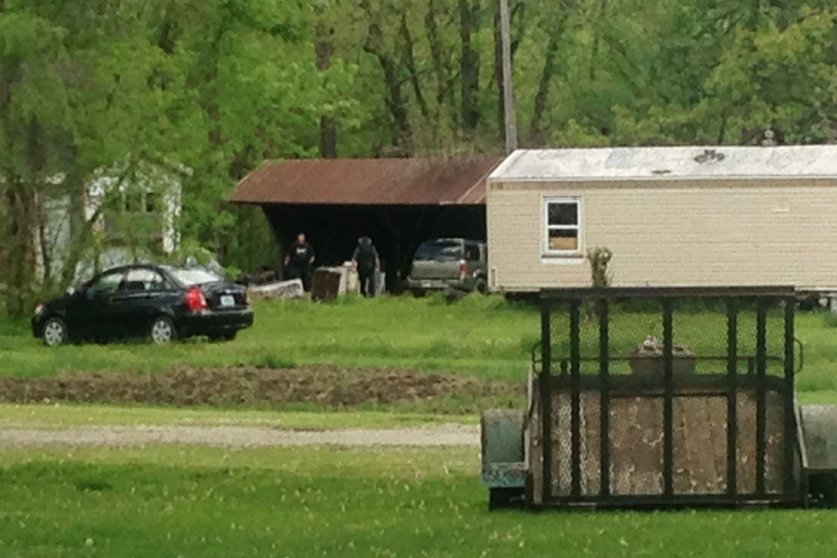 Officers were searching around a trailer in Wayland.
