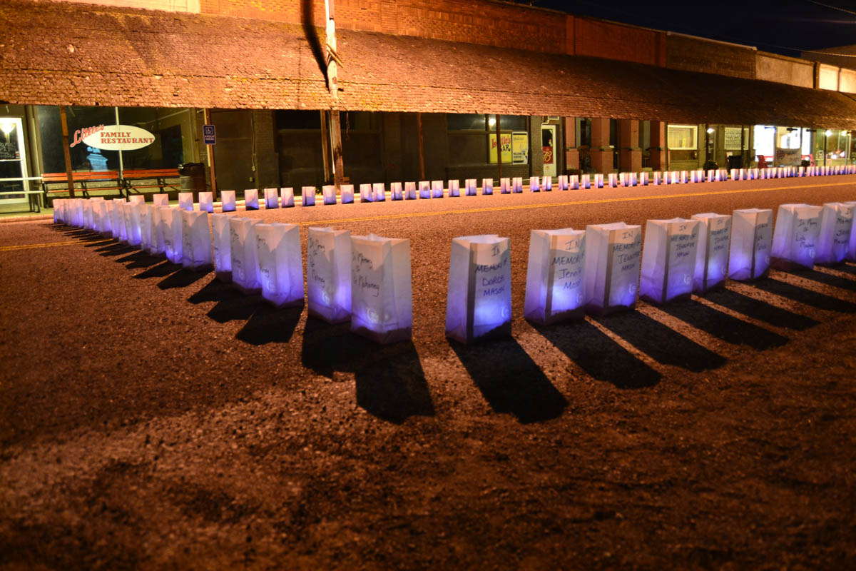 Remembering Our Loved Ones—Names of those still fighting cancer, and those who have passed, are read during the Luminaria ceremony at Relay for Life.
