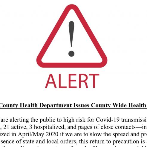 Knox County Health Dept Alert Screenshot 8-10-20